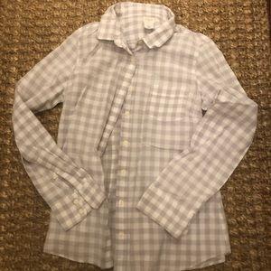 Jcrew perfect shirt Gray and White check